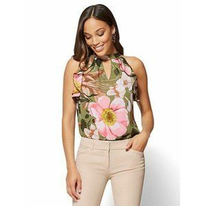 New York & Co XS Floral Ruffled Halter Blouse 104